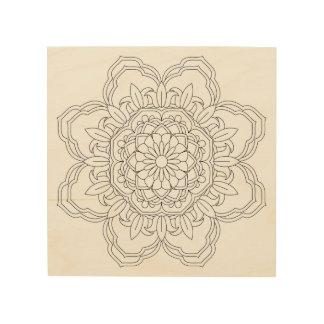 BlumeMandala. Vintage dekorative Elemente. Orien Holzdruck