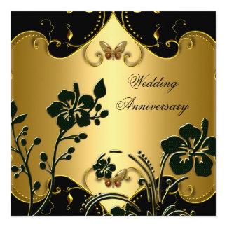 Blumen50. Hochzeitstag-Goldschwarzes Quadratische 13,3 Cm Einladungskarte