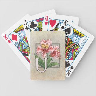 Blumen-Alphabet-Monogramm-Kunst Ulsters Mary Bicycle Spielkarten