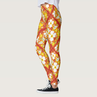Blumen auf Orange Leggings