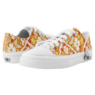Blumen auf Orange Niedrig-geschnittene Sneaker