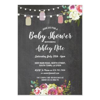 Blumen Baby-Duschen-Party-laden die rustikale Karte