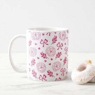 Blumen-Band-Herz-Rosa des Valentines Tages Tasse