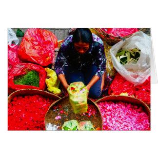 Blumen-Blumenblätter für das Angebot, Bali Grußkarte