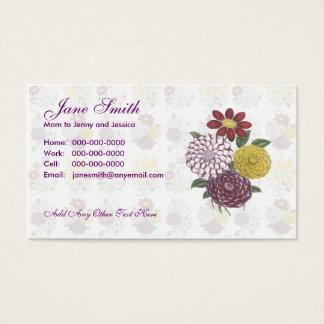 Blumen-Blumenstrauß-Kontakt-Karte Visitenkarte