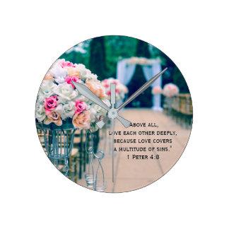Blumen-Blumenstrauß-Liebe-und Runde Wanduhr
