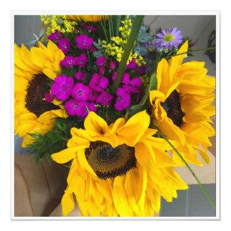 Blumen-Blumenstrauß Quadratische 13,3 Cm Einladungskarte