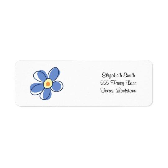 Blumen, Blüten, Blüte, Blumenblätter - blaues Gelb Rücksendeetiketten