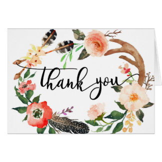 Blumen boho Feder danken Ihnen zu kardieren Karte