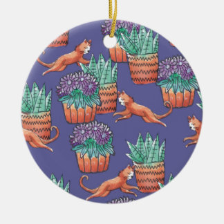 blumen cats keramik ornament