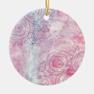 Blumen Decorative illustration of leaves and flowe Rundes Keramik Ornament