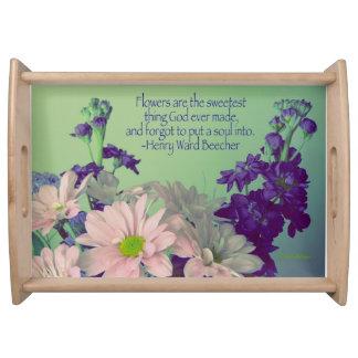 Blumen die süßesten Sache-Blumen+Zitat Tablett