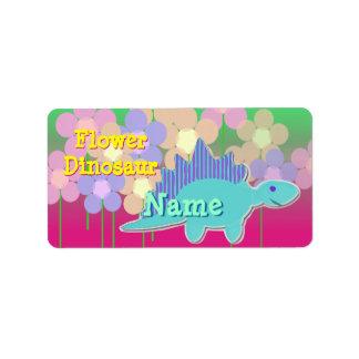 Blumen-Dinosaurier-Namen-Aufkleber Adressaufkleber