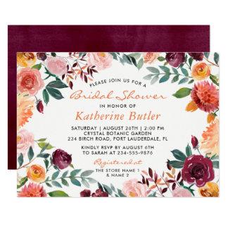 Blumen-Fall-Brautparty Burgunders orange rosa Karte