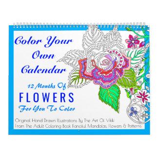 Blumen färben Ihre eigene personalisierte Farbe Kalender