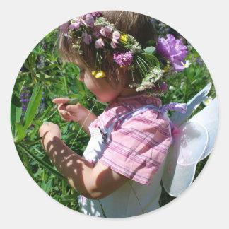 Blumen Fee Runder Aufkleber