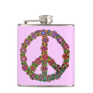 Blumen-Friedenszeichen-Symbol-hübsches Blumen Flachmann