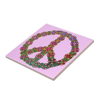 Blumen-Friedenszeichen-Symbol-mit Blumenhübsches Kleine Quadratische Fliese
