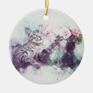 Blumen für Kitty| abstrakten | Watercolor Keramik Ornament