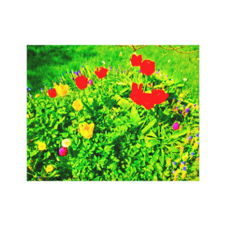 Blumen-Garten-Tulpen II Leinwanddruck