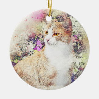 Blumen-GartenKitty| abstrakter | Watercolor Keramik Ornament