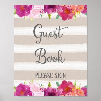 Blumen-Gast-Buch-Hochzeits-Plakat-Druck Poster