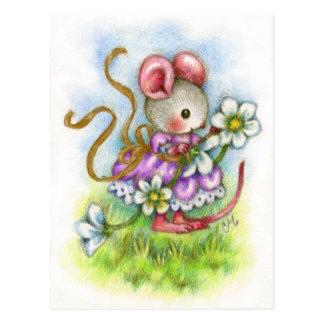 Blumen-Girlande - niedliche Mäusekunst-Postkarte Postkarte
