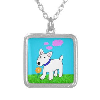 Blumen-Halskette des Stier-Terrier-Hundw Versilberte Kette