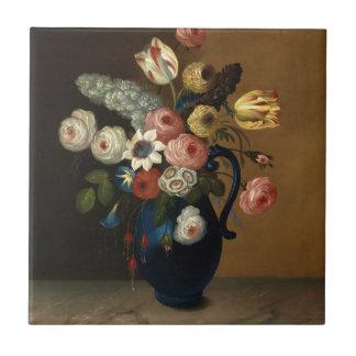 Blumen in einem blauen Krug Fliesen