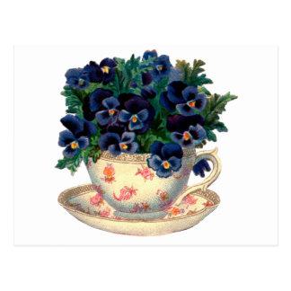 Blumen in einer Teacup-Vintagen Kunst Postkarte