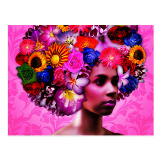 Blumen-Kopf Postkarte