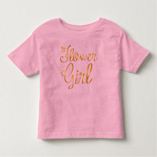 Blumen-Mädchen-Goldrosa-T-Shirt Kleinkind T-shirt