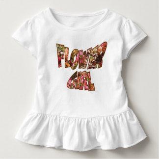 Blumen-Mädchen-Rüsche-T-Stück große Beschriftung Kleinkind T-shirt