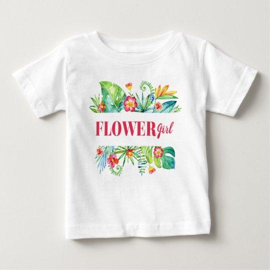 Blumen-Mädchenwatercolor-tropischer Bestimmungsort Baby T-shirt
