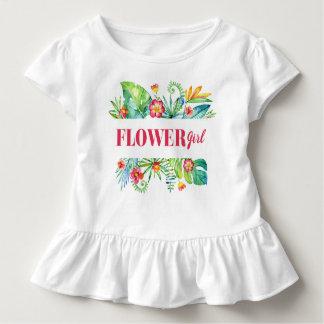 Blumen-Mädchenwatercolor-tropischer Bestimmungsort Kleinkind T-shirt