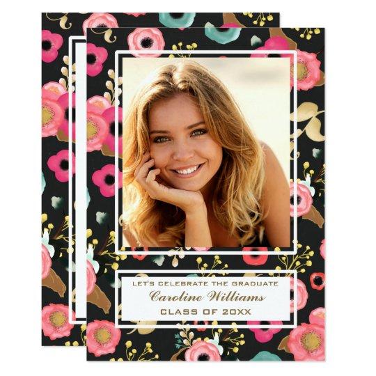 Blumen-Malerei-Abschluss-Party-Foto-Einladungen 12,7 X 17,8 Cm Einladungskarte