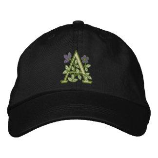 Blumen-Monogramm-Initiale A Besticktes Baseballcap