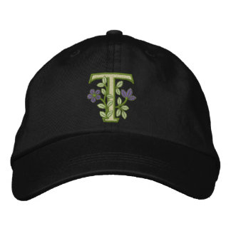 Blumen-Monogramm-Initiale T Baseballmütze