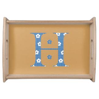 Blumen-Muster-Buchstabe H (blau) Tabletts