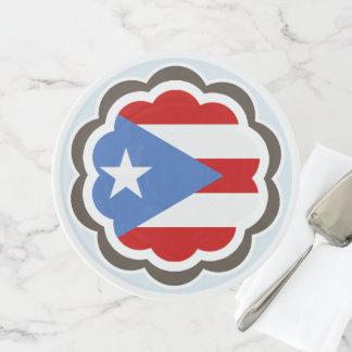 Blumen-Party, puertorikanische Flagge Tortenplatte