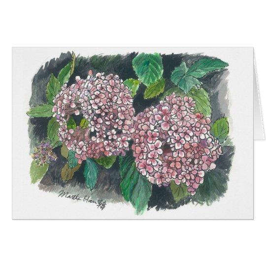 Blumen - rosa Hydrangea Grußkarte