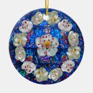 Blumen-Rosen-Herz Rundes Keramik Ornament