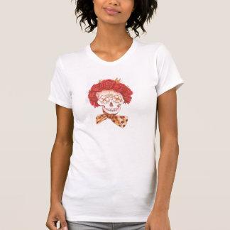 Blumen-Rosen-T - Shirt des Zuckerschädels Vintager