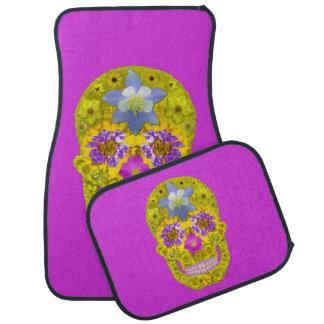 Blumen-Schädel 3 Auto Fussmatte