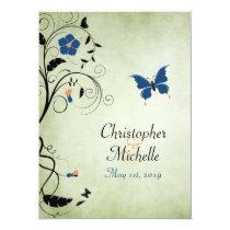 Blumen-Schmetterlings-Hochzeit laden, Empfang u. Ankündigungskarten