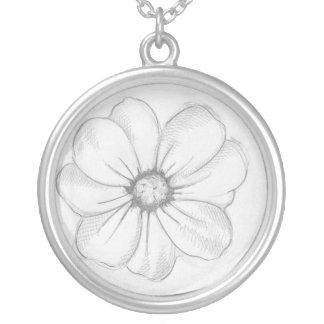 Blumen-Skizze Neclace Versilberte Kette