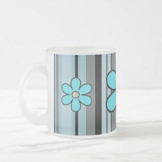 Blumen-Streifen-Initialen-Tasse Matte Glastasse