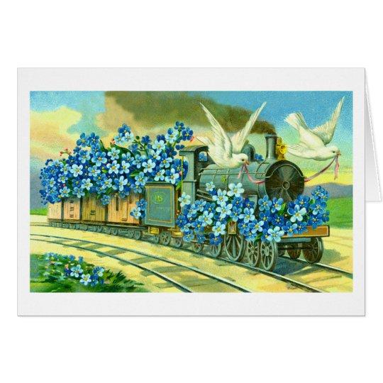 Blumen, Tauben und Zug Grußkarte