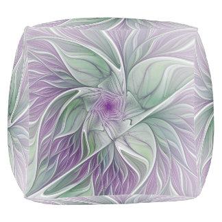 Blumen-Traum, abstrakte lila grüne Fraktal-Kunst Hocker