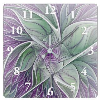 Blumen-Traum, abstrakte lila grüne Fraktal-Kunst Quadratische Wanduhr